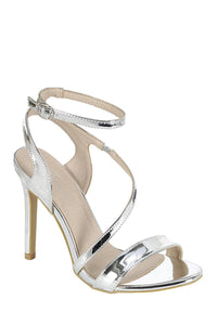 Ladies fashion high heel sandal, open almond toe, platform stiletto-Silver-5-MY UPSCALE STORE