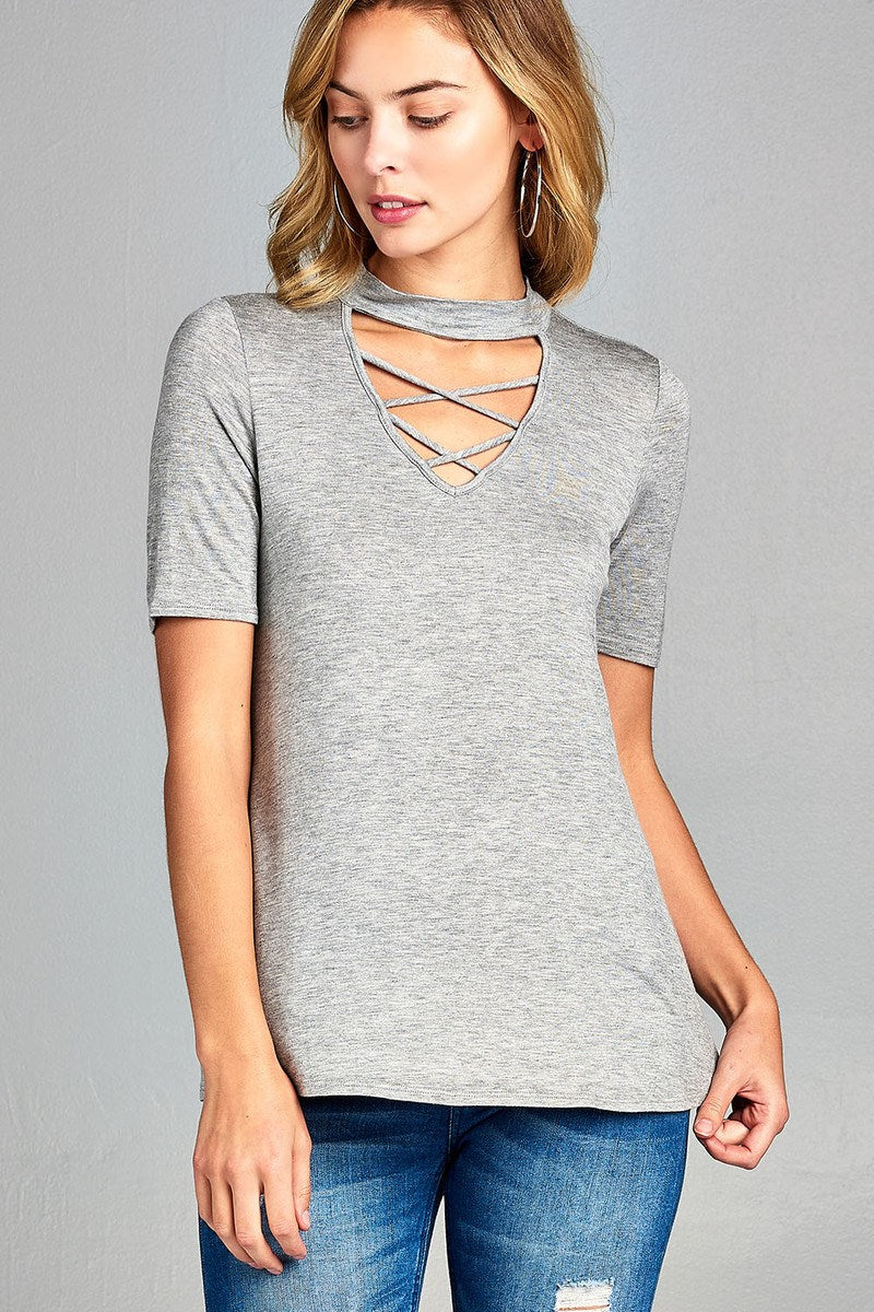 Ladies fashion short sleeve cross strap w/choker neck rayon spandex top-S-MY UPSCALE STORE