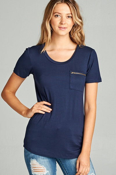 Ladies fashion short sleeve round neck zippered pocket top-S-MY UPSCALE STORE