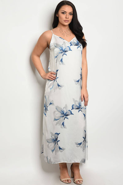Ladies fashion plus size floor length floral maxi dress-1XL-MY UPSCALE STORE