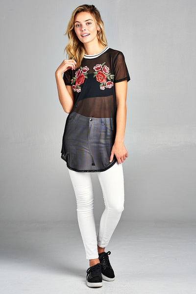 Ladies fashion short sleeve w/contrast rib neck floral patched mesh top-S-MY UPSCALE STORE