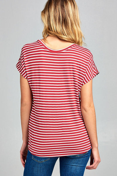 Ladies fashion classic dolman short sleeve v-neck stripe rayon spandex top-S-MY UPSCALE STORE