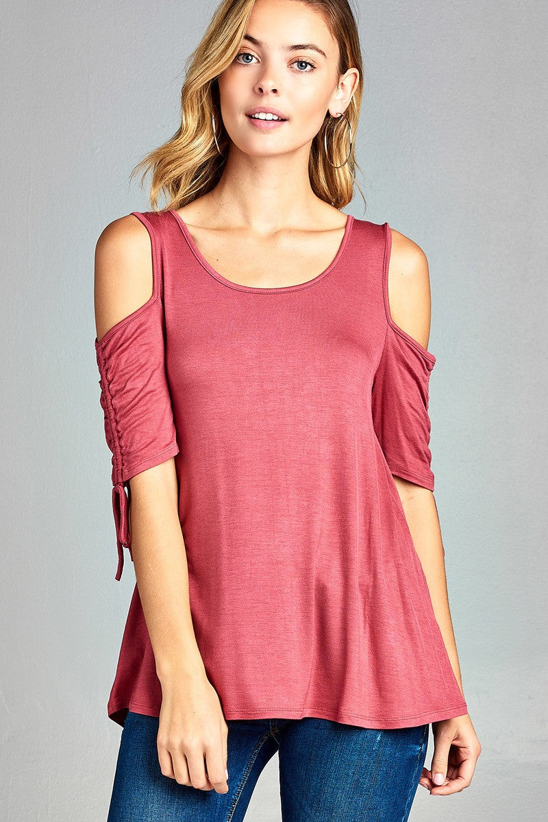 Ladies fashion cold shoulder w/seeve bow tie round neck rayon spandex top-S-MY UPSCALE STORE