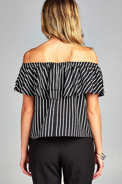Ladies fashion double ruffled flounce off the shoulder stripe print woven top-Off White/Black-S-MY UPSCALE STORE