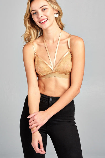 Ladies fashion front double strap w/elastic hem lace bralette-Off White-S-MY UPSCALE STORE