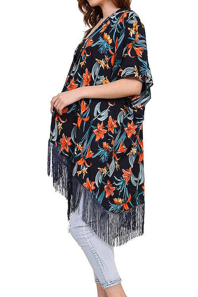 Ladies fashion tropical floral fringed kimono-Navy-MY UPSCALE STORE