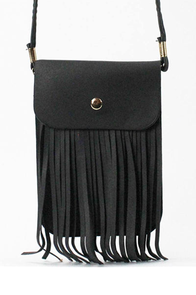 Fringed cross body bag-Black-MY UPSCALE STORE