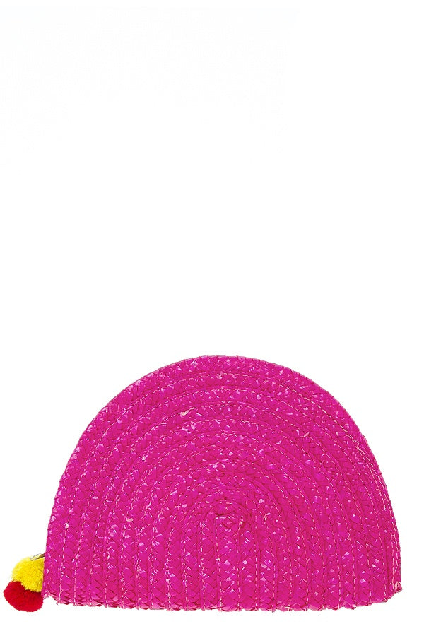 Solid straw semi circle clutch-Pink-MY UPSCALE STORE