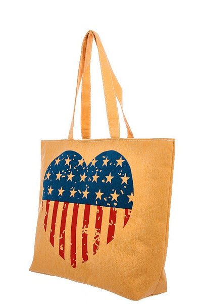 Vintage american flag heart print tote bag-Yellow-MY UPSCALE STORE