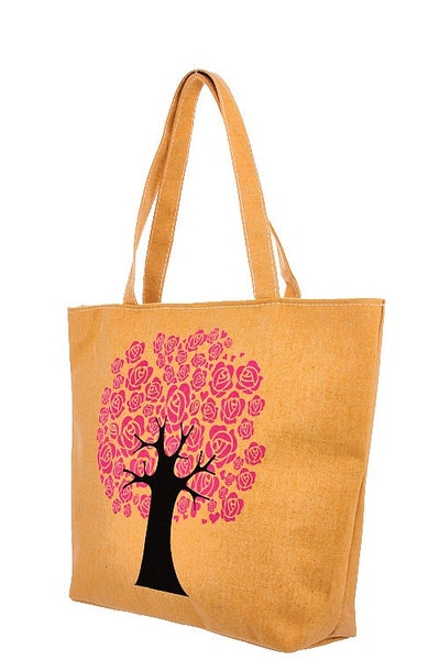 Floral tree print tote bag-Yellow-MY UPSCALE STORE