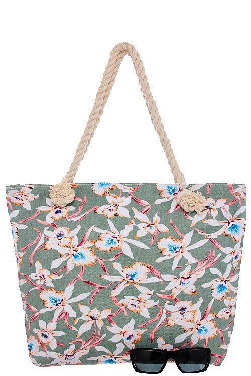 Orchid print canvas tote bag-Sage-MY UPSCALE STORE
