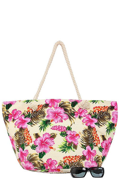 Oversized hibiscus palm leaf print tote bag-Ivory-MY UPSCALE STORE