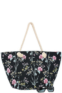 Oversized tropical floral print tote bag-Black-MY UPSCALE STORE