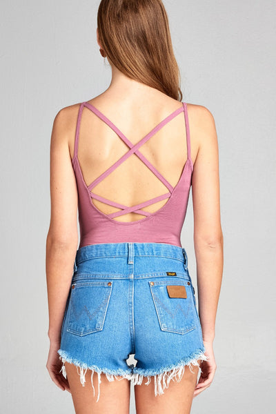 Ladies fashion low-cut scoop neckline w/back strappy cami cotton rayon spandex bodysuit-Mauve-S-MY UPSCALE STORE