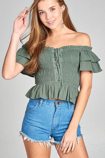 Ladies fashion double layered short sleeve off the shoulder front smocked w/lace-up crinkle gauze woven top-Sage Green-S-MY UPSCALE STORE