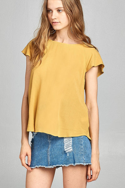 Ladies fashion short sleeve ruffled round neck strappy back detail crinkle gauze woven top-Yolk Yellow-S-MY UPSCALE STORE