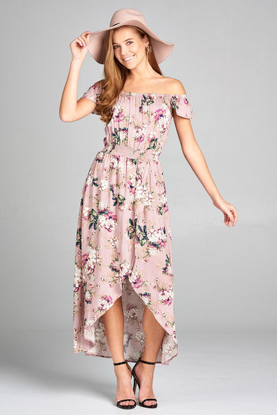 Ladies fashion off the shoulder ruffle short sleeve smocked waist high-low floral print dress-Mauve-S-MY UPSCALE STORE