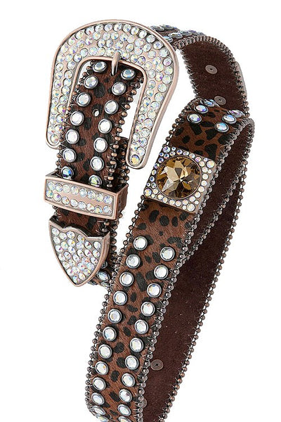 Animal print rhinestone belt-Black/Brown (M/L)-MY UPSCALE STORE