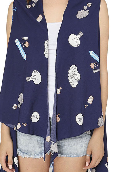 Graphic print cover up vest-Navy-MY UPSCALE STORE