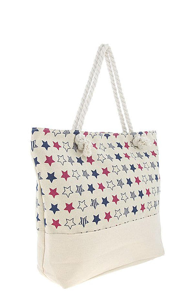 Patriotic star pattern large tote bag-White-MY UPSCALE STORE