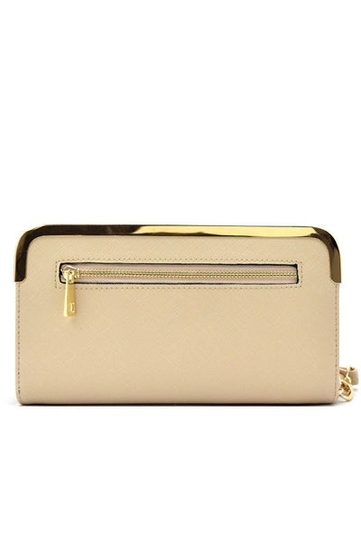 Hardware rim accent saffiano wallet and cellphone holder-Beige-MY UPSCALE STORE