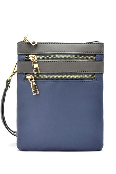 Multi zip pocket nylon twill cross body bag-Grey-MY UPSCALE STORE