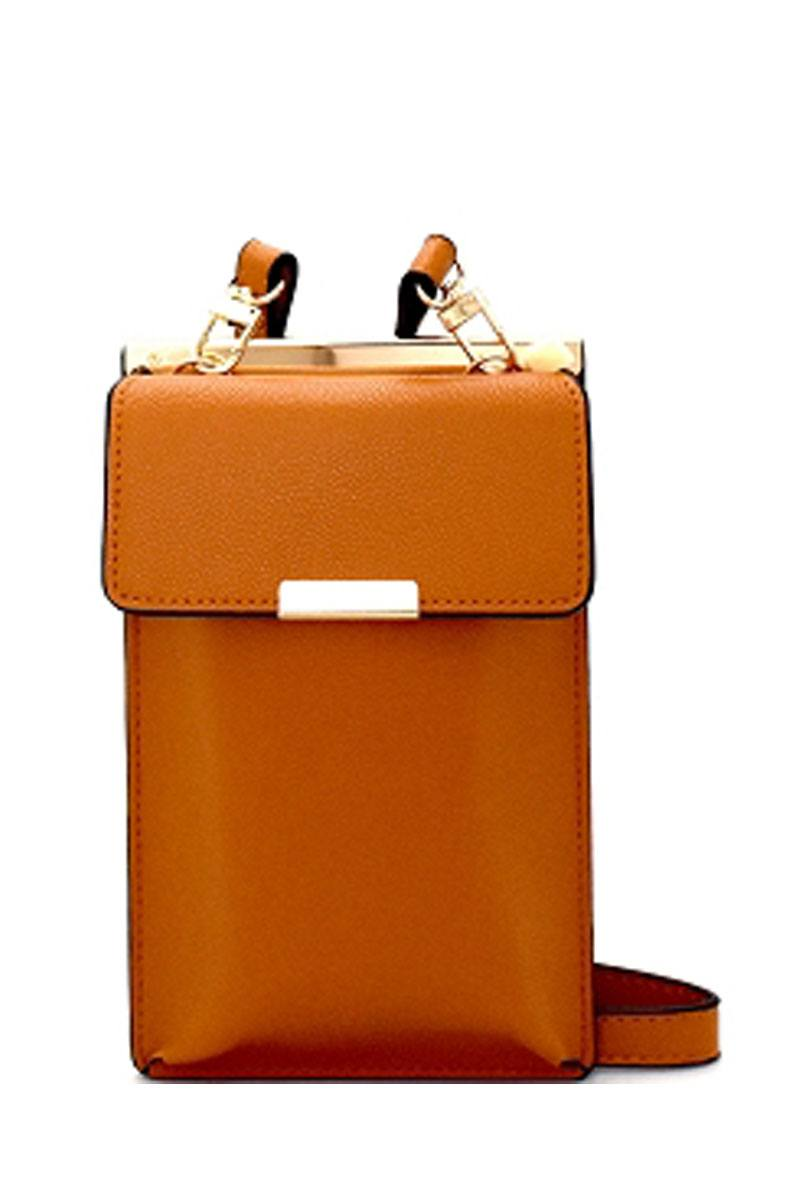 Cellphone and card holder cross body bag-Tan-MY UPSCALE STORE