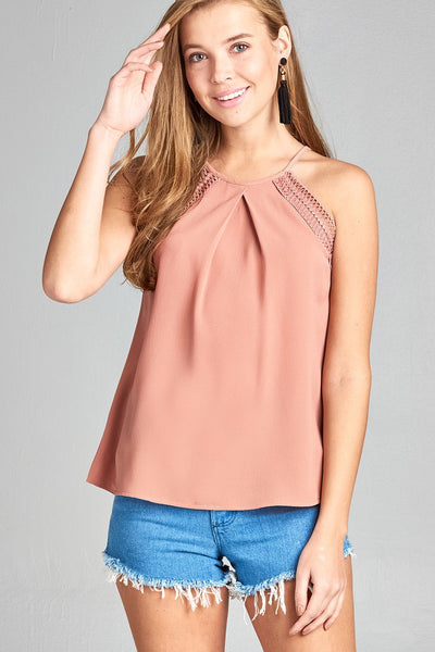 Ladies fashion round halter neck w/lace detail cami crepe woven top-Blossom-S-MY UPSCALE STORE