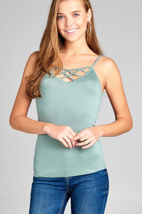 Ladies fashion cross strap front rayon spandex cami top-Sage Green-S-MY UPSCALE STORE