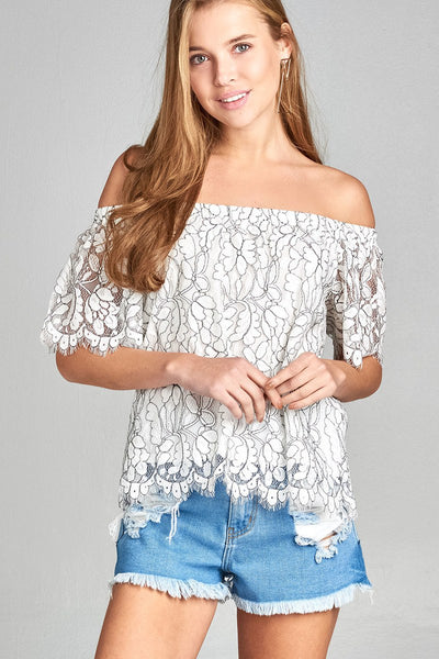 Ladies fashion off the shoulder short sleeve w/ribbon tie scalloped hem lace top-Off White/Black-S-MY UPSCALE STORE