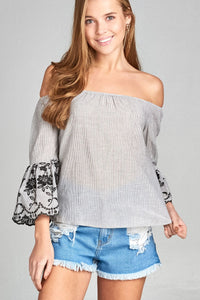 Ladies fashion 3/4 sleeve w/floral embo scallop hem off the shoulder stripe woven top-S-MY UPSCALE STORE