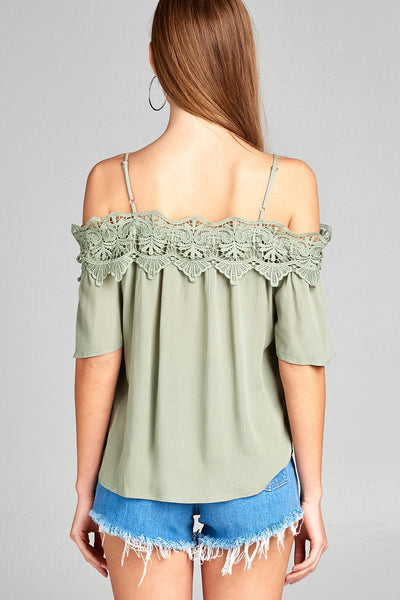 Ladies fashion short sleeve open shoulder w/crochet lace top-S-MY UPSCALE STORE