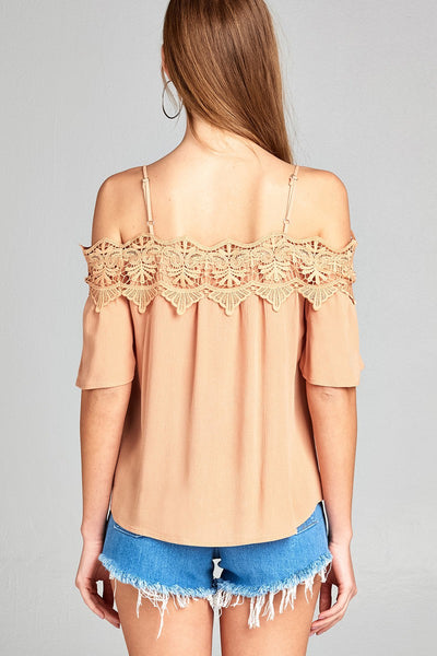 Ladies fashion short sleeve open shoulder w/crochet lace top-Misty Rose-S-MY UPSCALE STORE