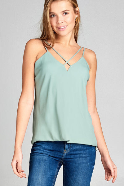 Ladies fashion sleeveless v-neck surplice cross strap wool dobby woven top-Sage-S-MY UPSCALE STORE