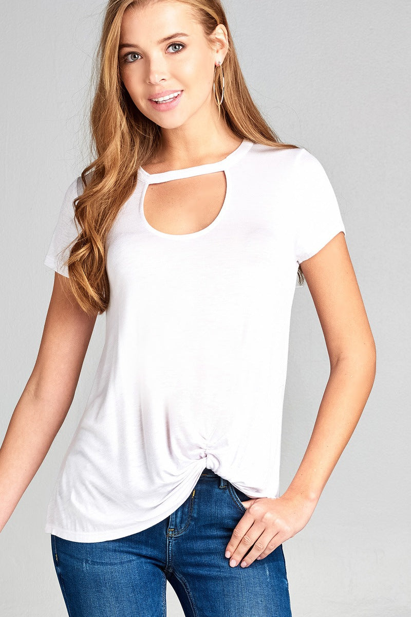 Ladies fashion short sleeve choker v-neck front twist hem rayon spandex top-Off White-S-MY UPSCALE STORE