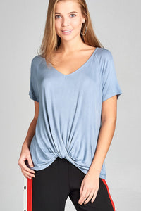 Ladies fashion short raglan sleeve front twisted rayon spandex top-Smoke Blue-S-MY UPSCALE STORE