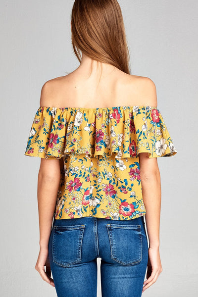 Ladies fashion off the shoulder ruffle floral print crepe woven top-Mustard-S-MY UPSCALE STORE