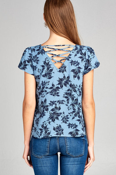 Ladies fashion short tulip sleeve round neck w/strappy back detail floral print woven top-S-MY UPSCALE STORE