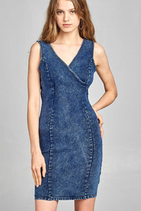 Ladies fashion double v-neck front wrap detail w/back zipper bodycon denim mini dress-S-MY UPSCALE STORE