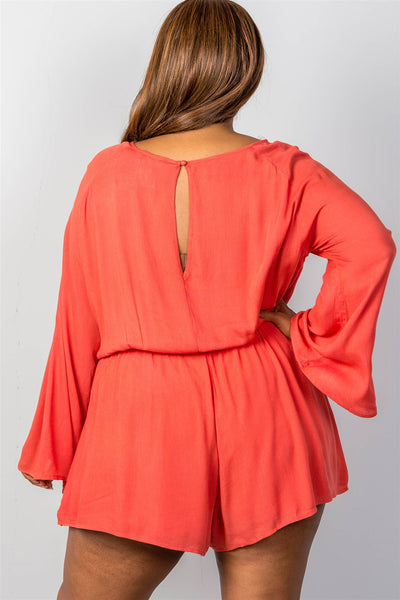 Ladies fashion plus size ladder inset romper-Terracotta-1XL-MY UPSCALE STORE