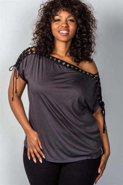 Ladies fashion plus size all lace-up neckline top-Mocha-1XL-MY UPSCALE STORE