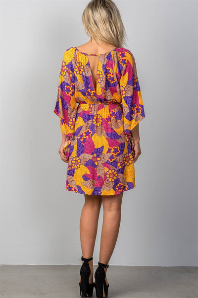 Ladies fashion multi floral bell sleeve dress-S-MY UPSCALE STORE