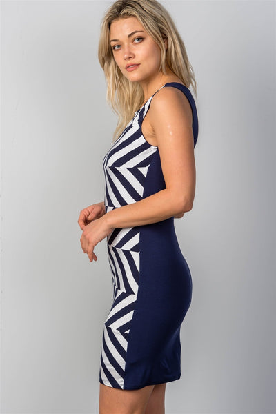 Ladies fashion white & navy striped bodycon mini dress-S-MY UPSCALE STORE