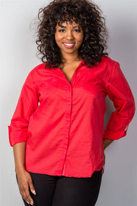 Ladies fashion plus size red roll-sleeve plus size top-1XL-MY UPSCALE STORE