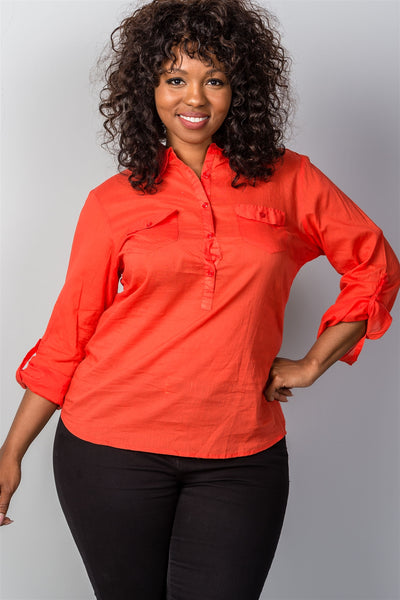 Ladies fashion plus size roll-sleeve plus size top-1XL-MY UPSCALE STORE