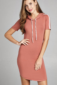 Ladies fashion short sleeve w/side stripe drawstring hoodie cotton rayon spandex mini dress-Rose-S-MY UPSCALE STORE