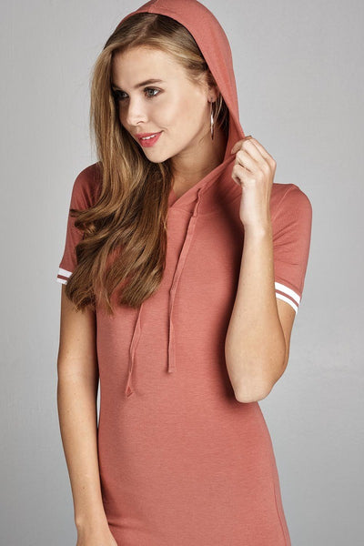 Ladies fashion short sleeve w/stripe band drawstring hoodie cotton rayon spandex mini dress-Rose-S-MY UPSCALE STORE