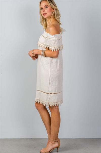 Ladies fashion boho ivory elastic off shoulder crochet trim mini dress-S-MY UPSCALE STORE