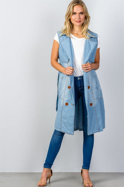 Ladies fashion denim self-tie long waistcoat-S-MY UPSCALE STORE