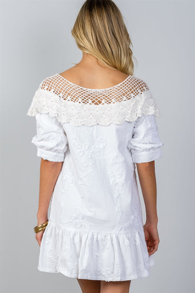 Ladies fashion boho white ruffle hem crochet shift mini dress-S-MY UPSCALE STORE